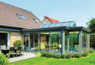 Véranda toit plat en Alsace